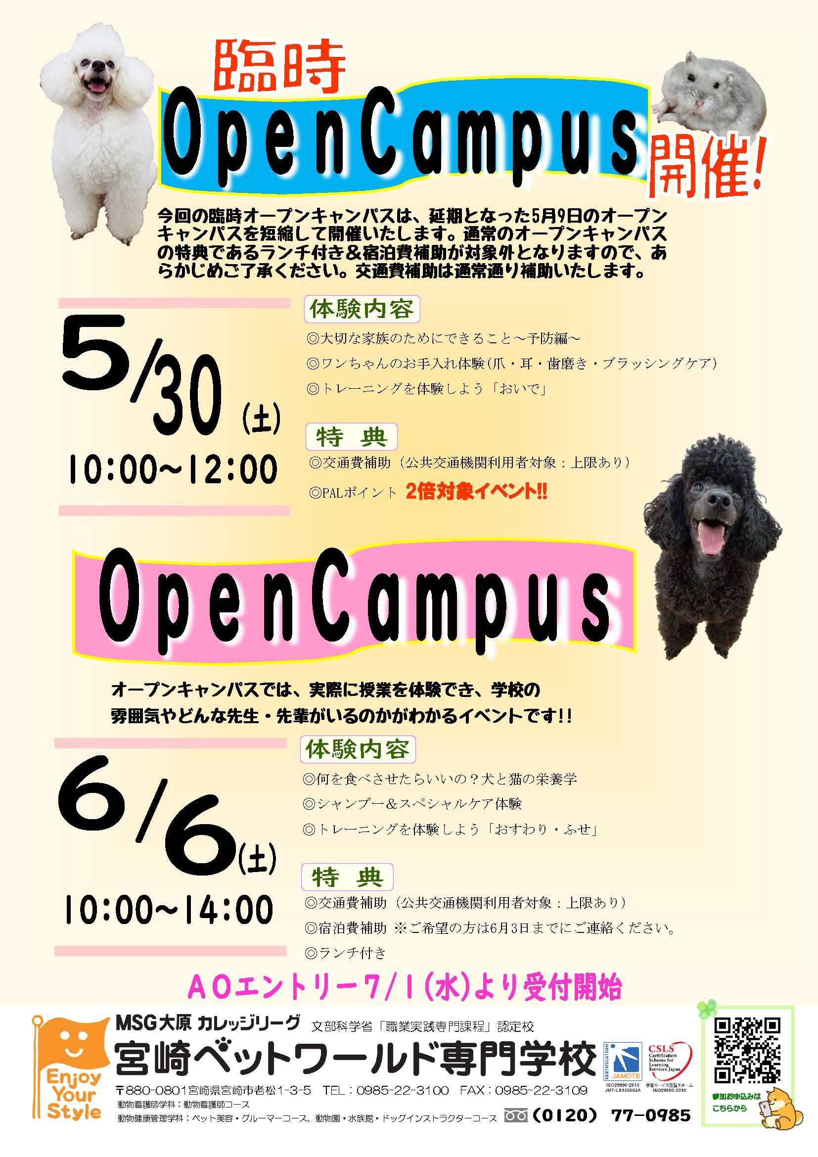 5月30日(土)臨時オープンキャンパスを開催します